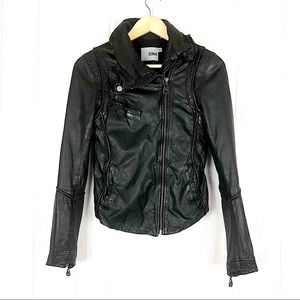 Luxury Doma Biker Zipper Leather Black Jacket